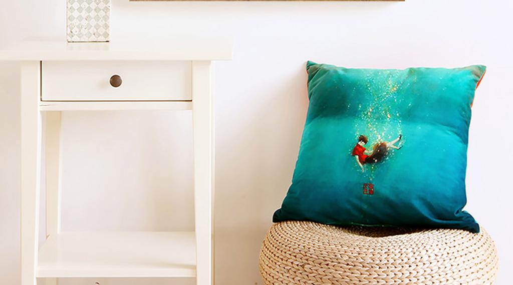 手绘水彩抽象麋鹿角彩绘玄关客厅卧室装饰画