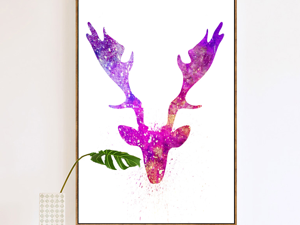 手绘水彩彩绘玄关麋鹿鹿角抽象装饰画