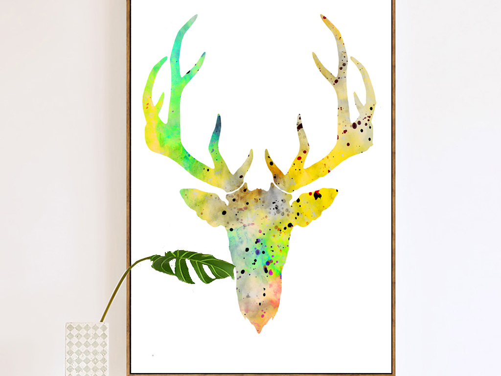 装饰图案彩色手绘荷花