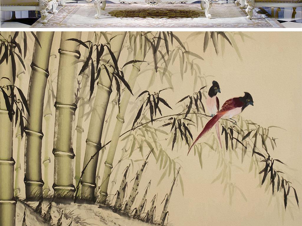 风景壁画手绘油画高清油画巨幅竹林复古花鸟花鸟复古简约现代现代简约
