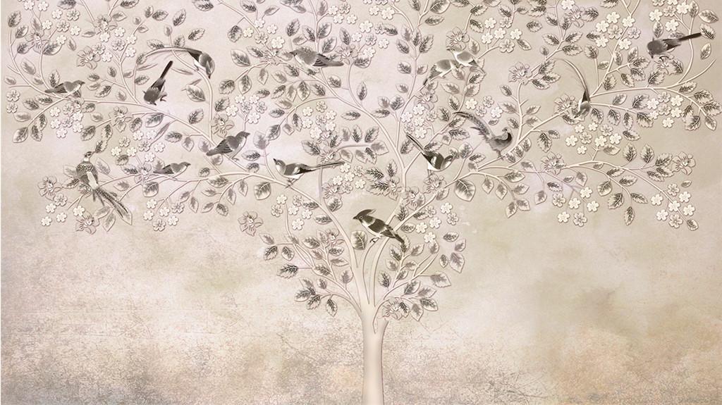 高清手绘工笔画花鸟图背景墙