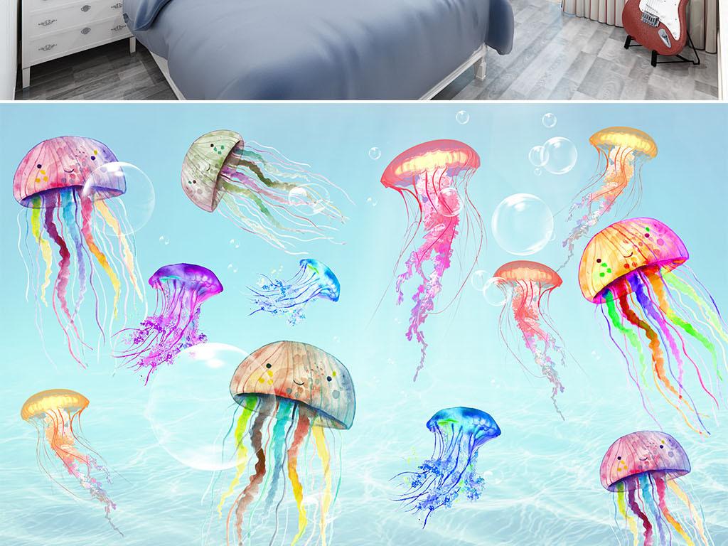 手绘海洋水母儿童房背景墙