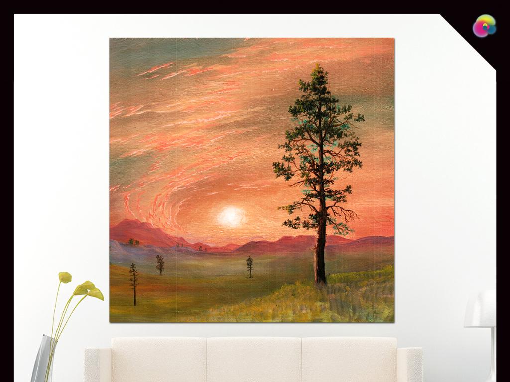 复古欧式现代简约手绘抽象树油画装饰画