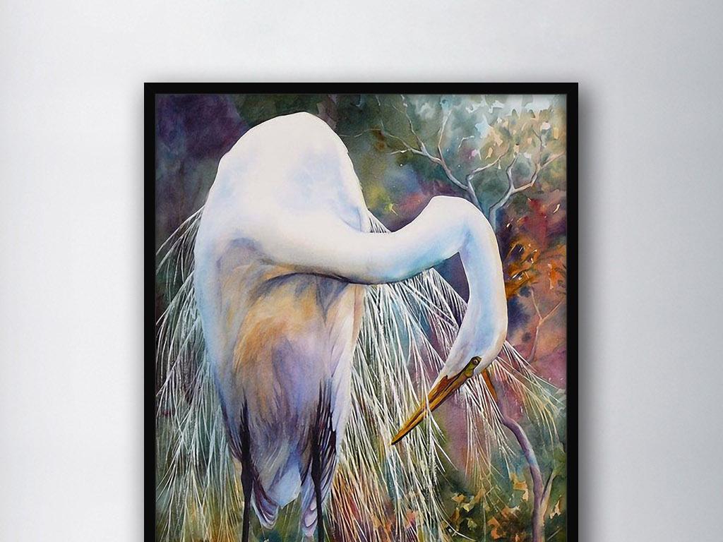 背景墙|装饰画 无框画 动物图案无框画 > 休整的白鹤北欧现代复古欧式