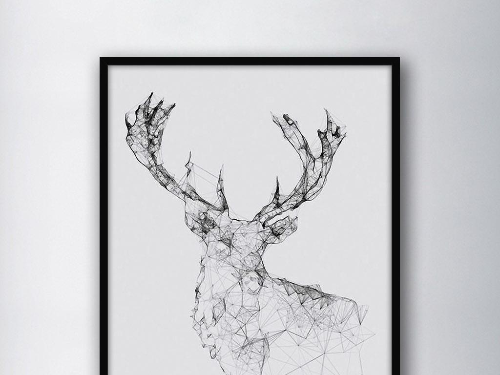 几何形状抽象麋鹿北欧现代简约欧式装饰画