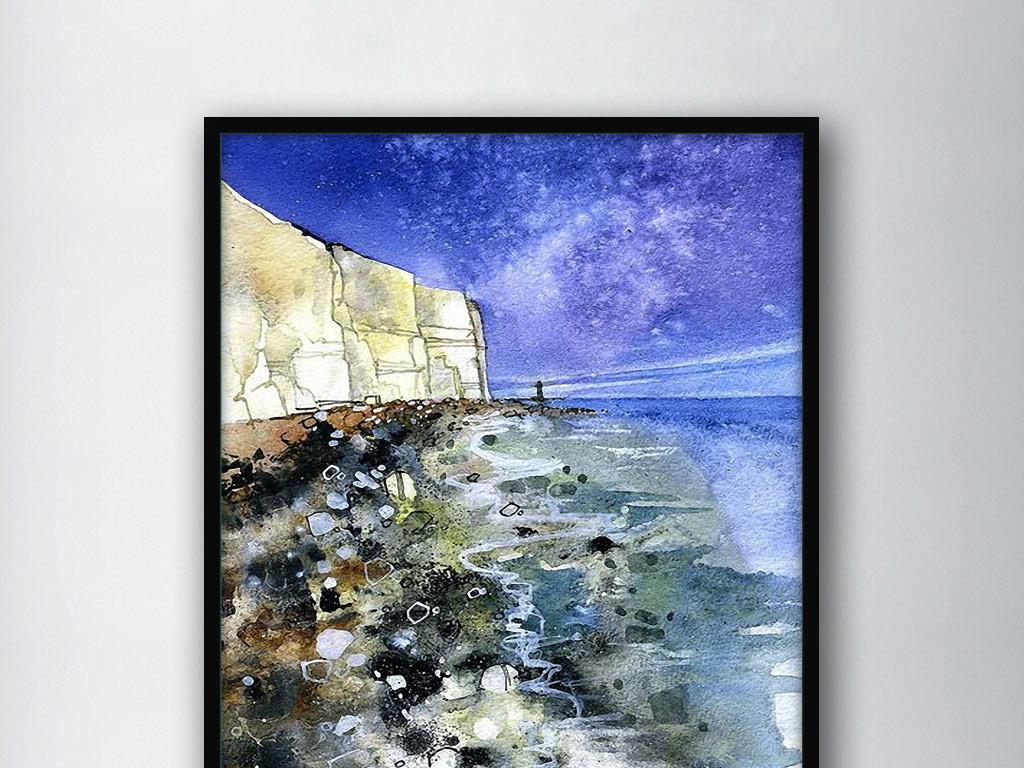 海岸风景抽象北欧现代小清新简约欧式装饰画图片