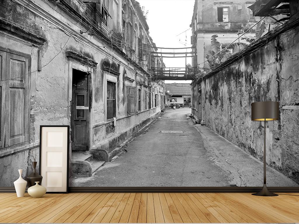 老照片复古怀旧照片老房子瓦房民国旧社会农村郊区街道