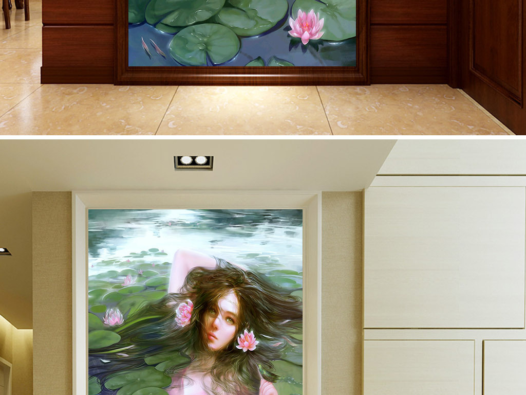 睡莲美女北欧手绘现代欧式客厅玄关装饰画