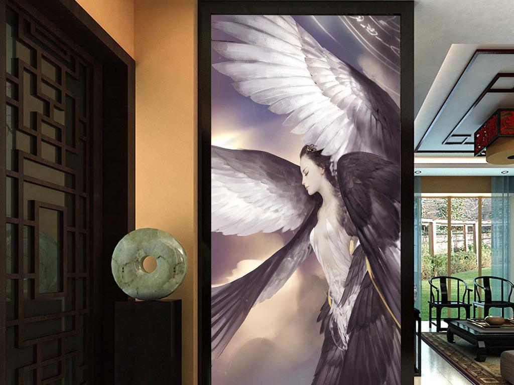 天使翅膀幻想北欧现代欧式手绘客厅玄关壁画