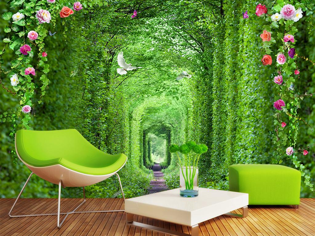 绿植长廊3d电视背景墙背景画