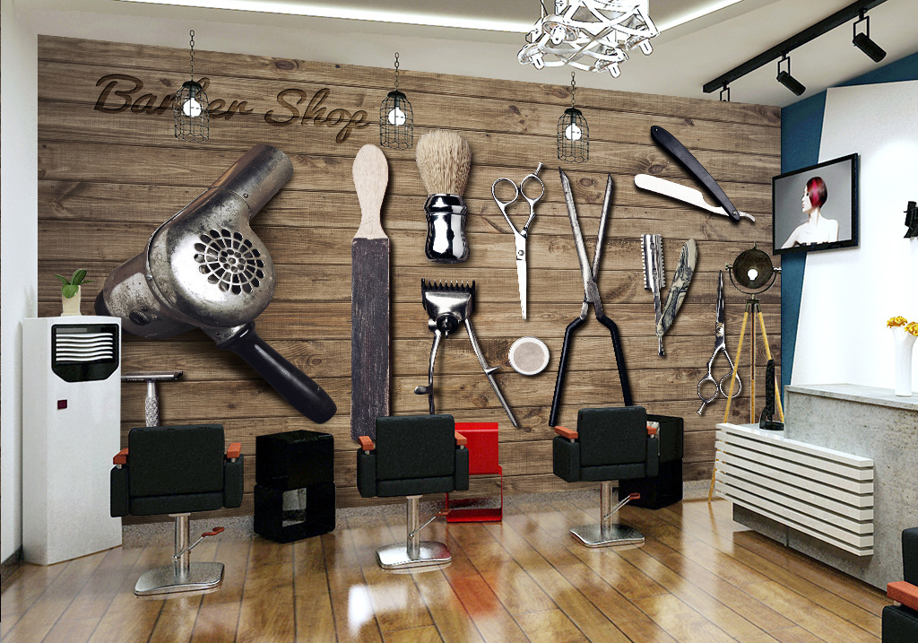 背景墙|装饰画 工装背景墙 形象墙 > 复古木板理发店工具背景墙背景画