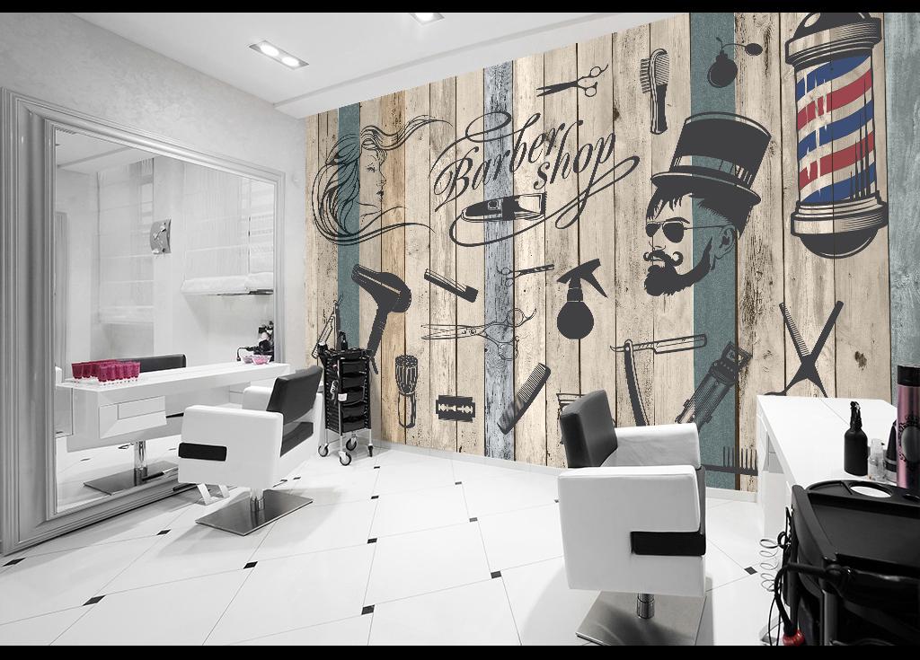 手绘背景墙壁画壁纸复古背景背景画理发店背景美发背景墙美容美发背景