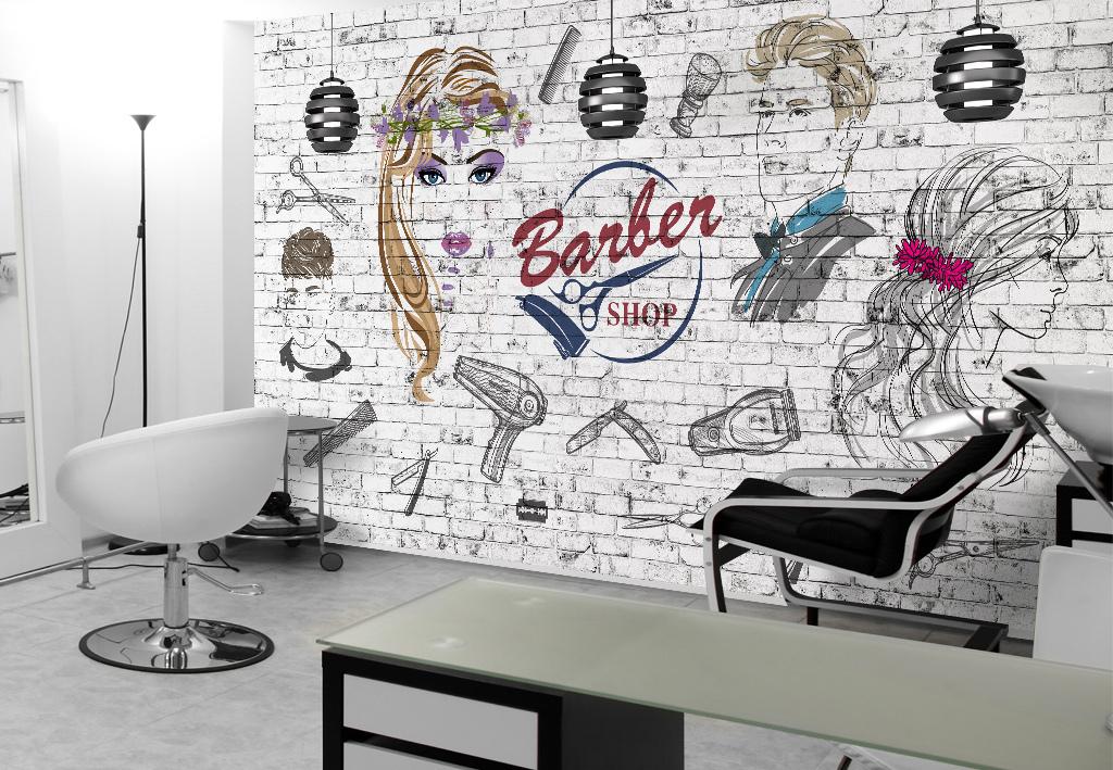 欧美砖墙理发店美容店背景墙背景画