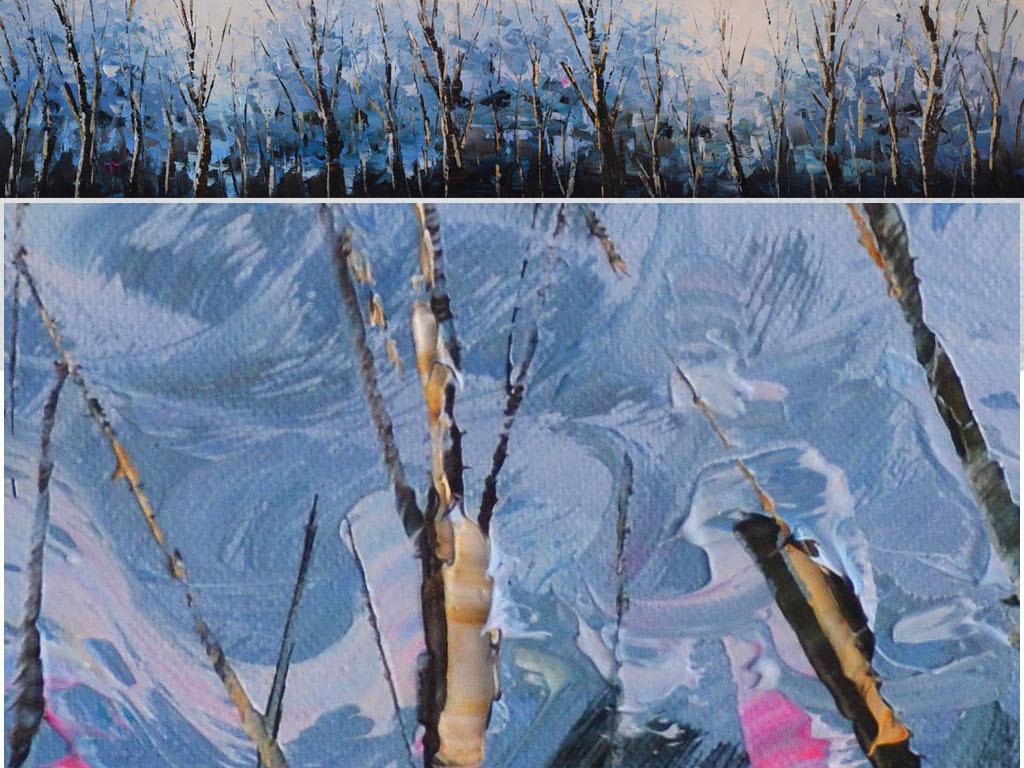 蓝调抽象森林立体油画艺术床头画