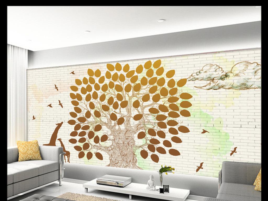现代城市鸟树抽象手绘背景墙装饰画