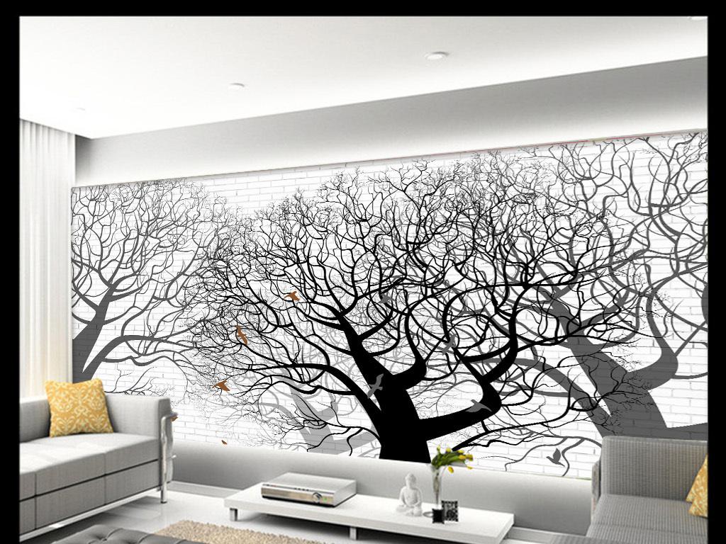 现代鸟树抽象手绘背景墙装饰画