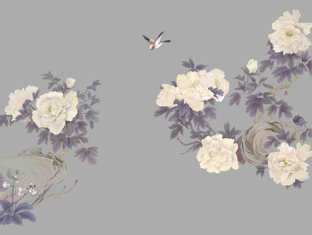 手绘牡丹花鸟图