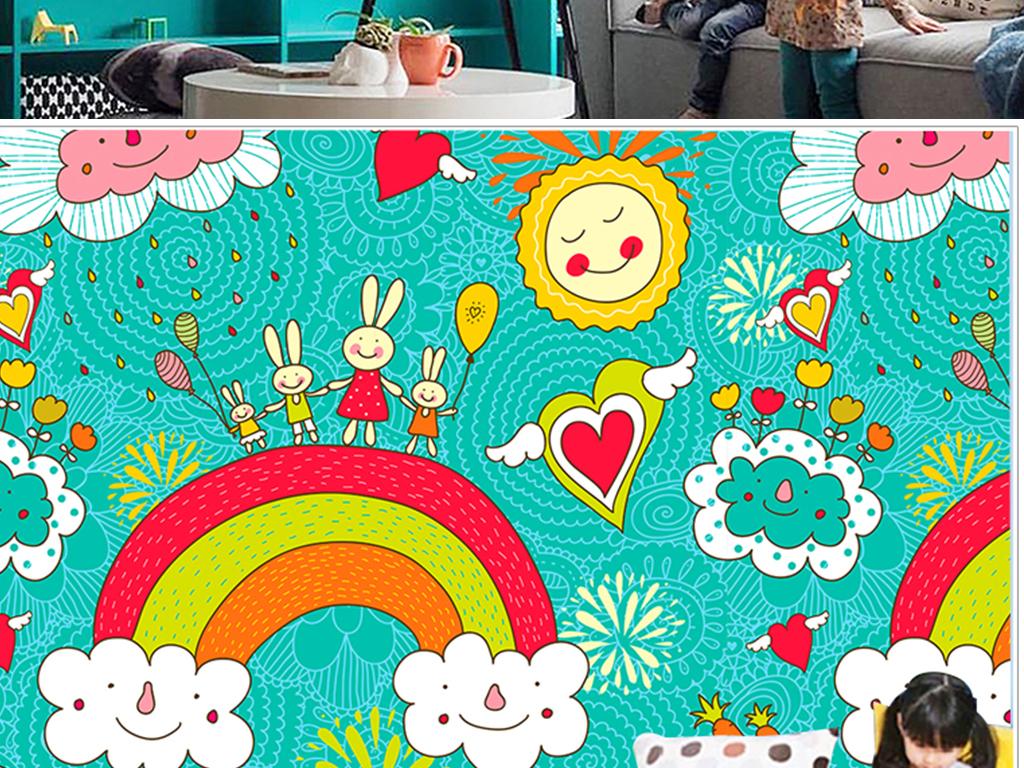 卡通兔子彩虹儿童房幼儿园背景墙壁纸