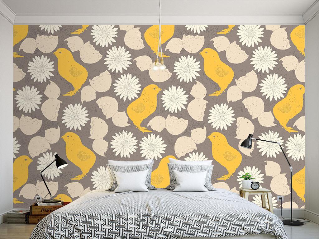 美式小鸟雏菊无缝墙纸(图片编号:15901956)_美式墙纸图片