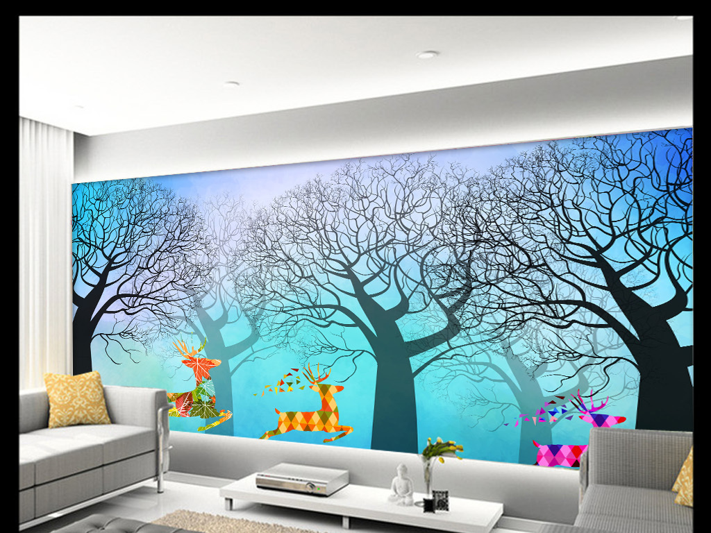 简欧驯鹿树抽象手绘背景墙装饰画