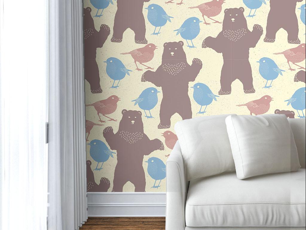 美式风格棕熊无缝墙纸图片