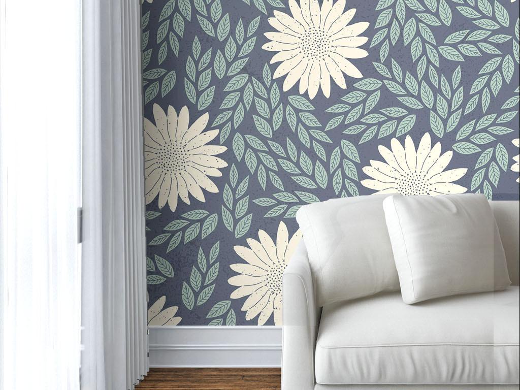 美式素雅白色小雏菊无缝墙纸图片