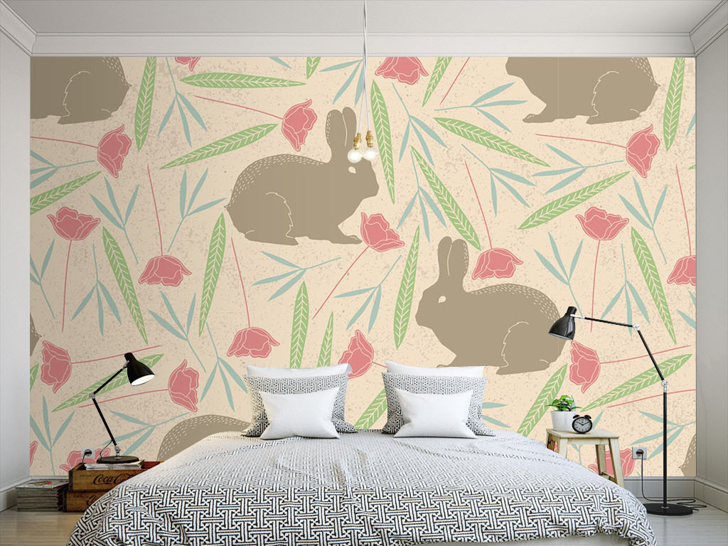 美式淡雅兔子无缝墙纸图片
