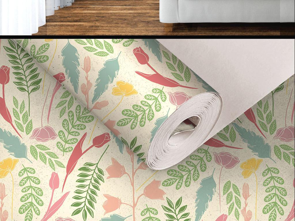 美式手绘植物无缝墙纸