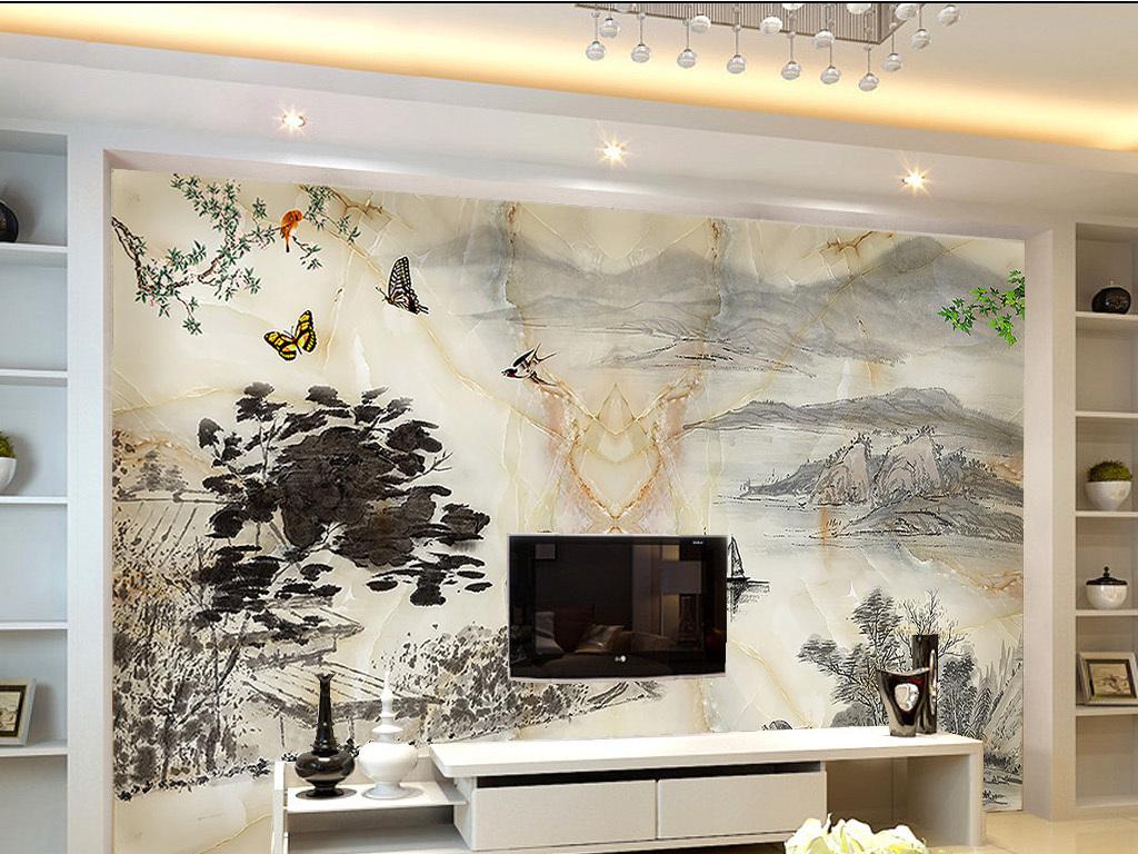 背景墙|装饰画 电视背景墙 欧式电视背景墙 > 大理石水墨山水画背景墙图片