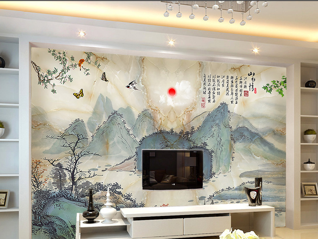 大理石水墨画山水情背景墙(图片编号:15902104)_欧式图片