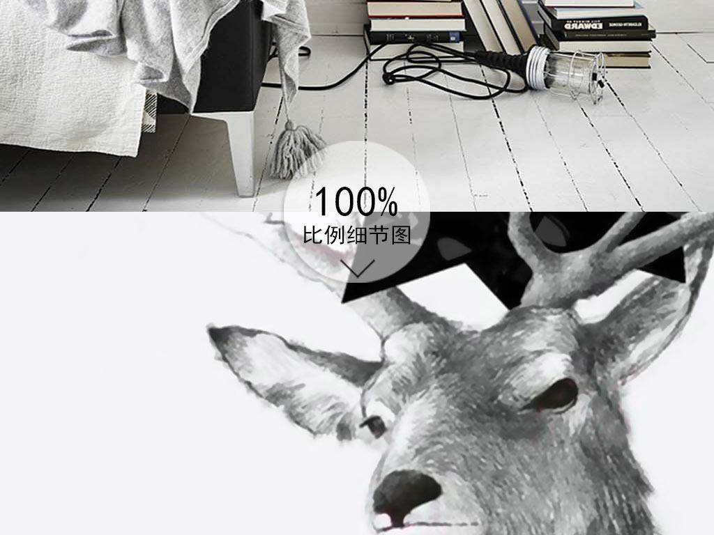 狼鹿狐狸手绘素描线条麋鹿鹿头宠物厨房装饰画装饰画北欧装饰画北欧