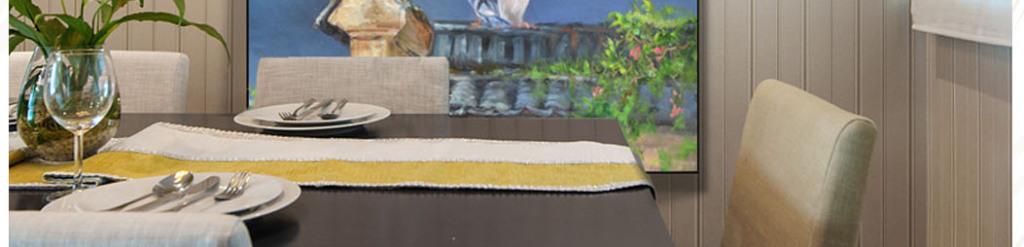 超高清画质新中式屋檐花鸟油画艺术玄关图片