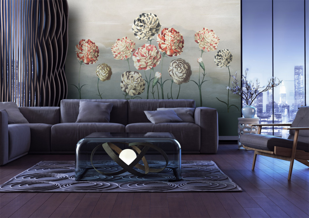 美式花卉欧式壁画客厅壁画高清花鸟图ps分层沙