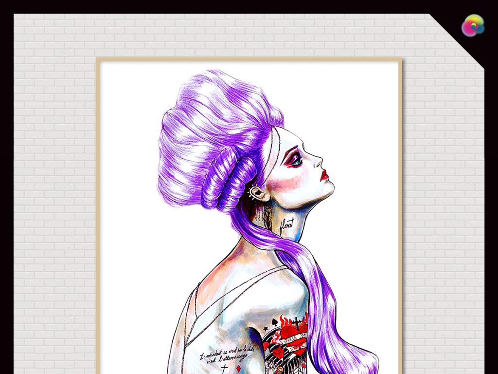 北欧现代简约手绘美女装饰人物插画