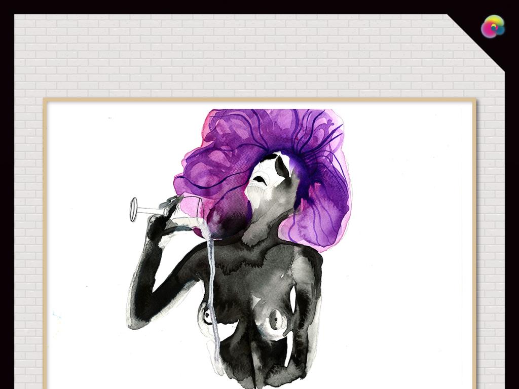 背景墙|装饰画 无框画 人物无框画 > 手绘美女插画艺术时尚高清电视