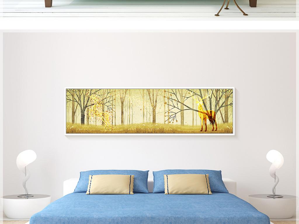 北欧简约手绘金色抽象树林鹿落叶装饰画