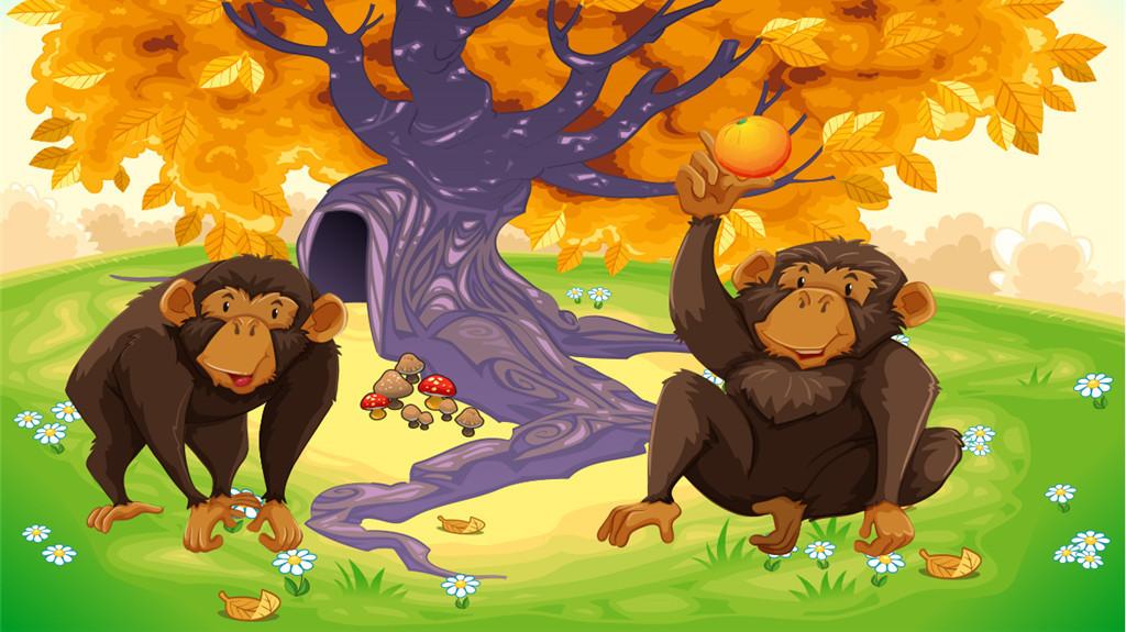 猴子猴子背景背景卡通许愿树卡通树手绘树香蕉树抽象树成长树树简笔画