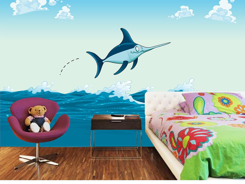 手绘经典风格装饰画无框画图片设计墨北欧简约海豚北欧简约背景墙高清