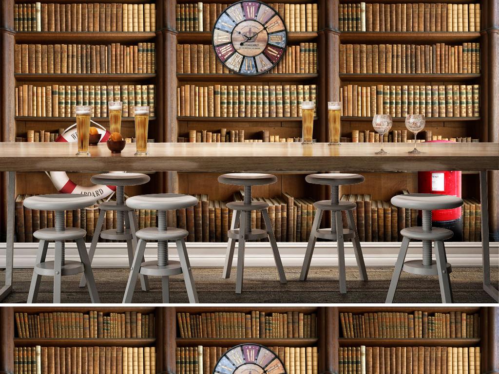 复古怀旧欧式图书馆书房3d电视背景墙
