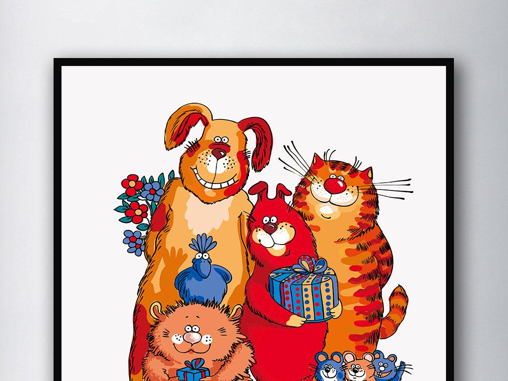 一家人北欧简约装饰画单联画猫狗老鼠无框画