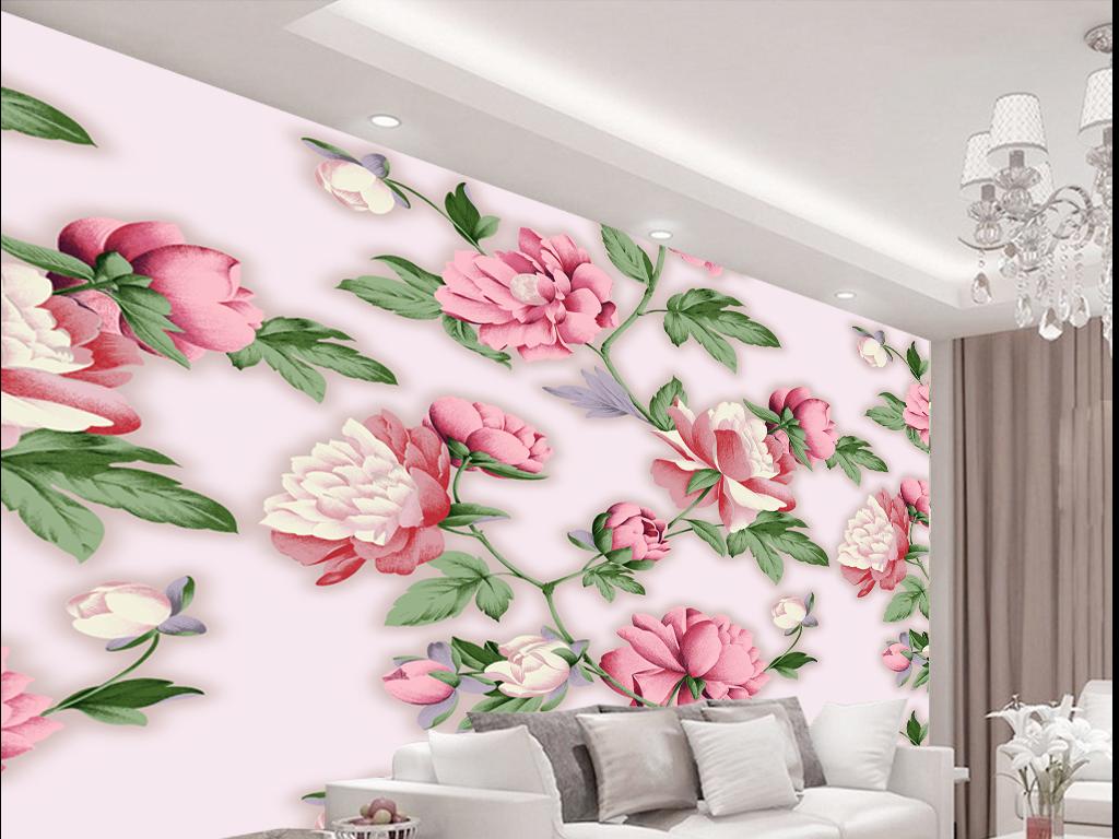 手绘欧式花纹背景墙壁画(图片编号:15902815)_手绘墙