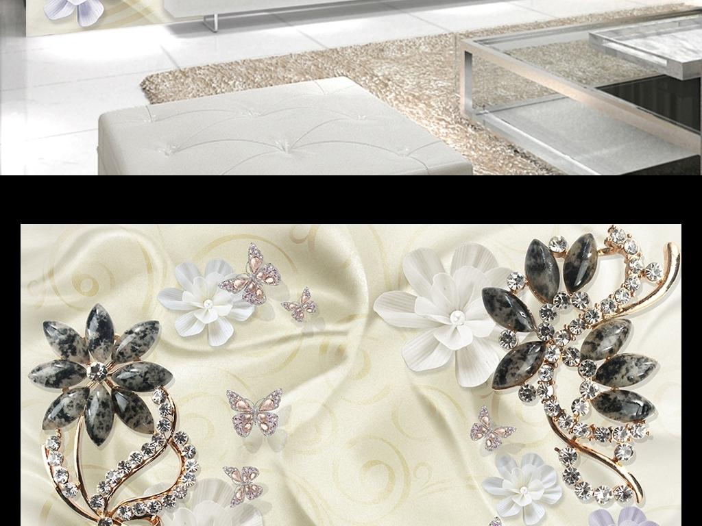 蕾丝背景蝴蝶水晶浪漫唯美简约欧式浮雕镶钻珠宝背景