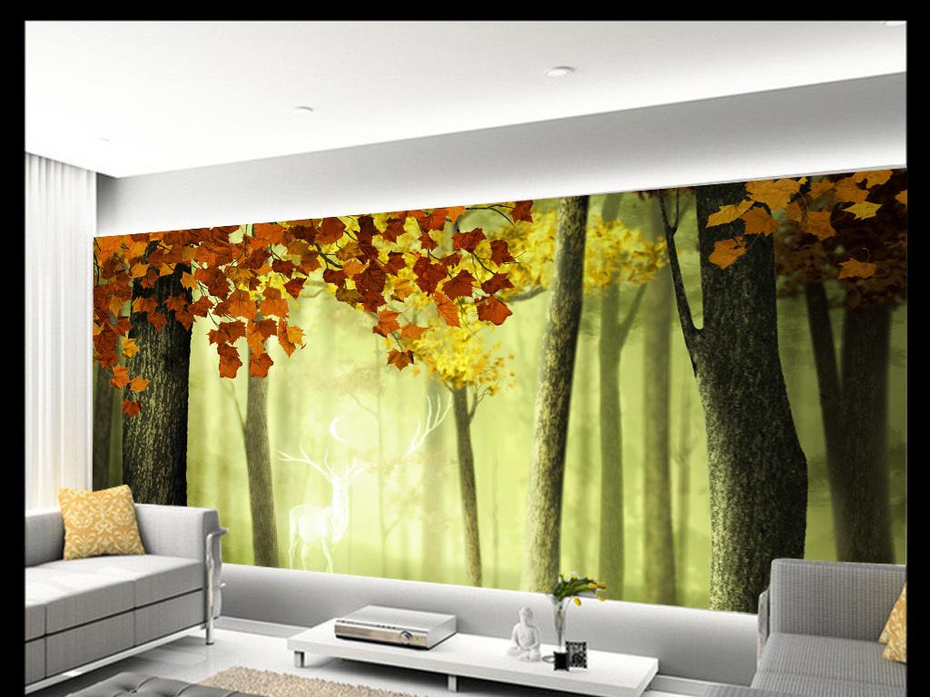 唯美驯鹿树抽象手绘背景墙装饰画