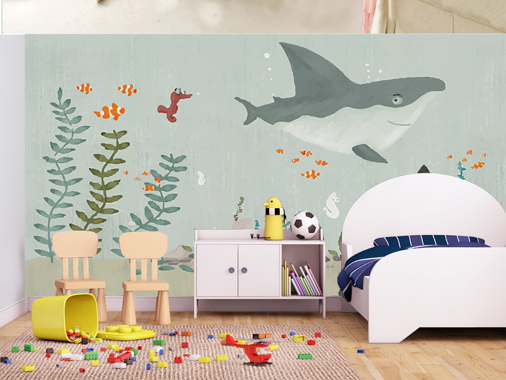 手绘北欧卡通海底世界儿童房电视背景墙