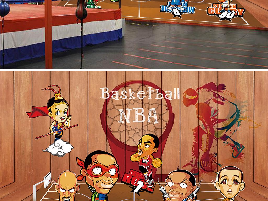 卡通动漫篮球明星背景墙