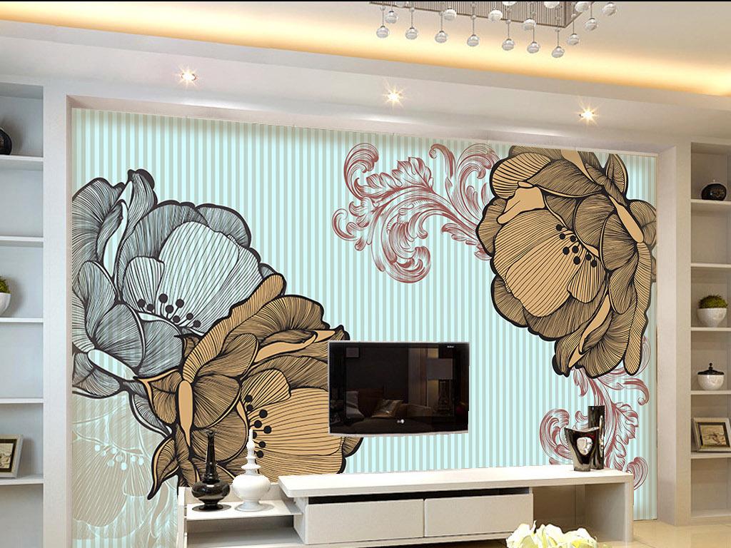 设计作品简介: 欧式花纹简约现代电视背景墙 位图, cmyk格式高清大图