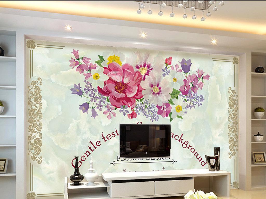 大理石欧式简约花纹花卉电视背景墙(图片编号:)