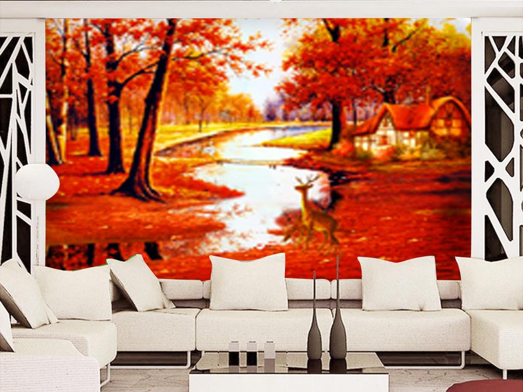 唯美意境欧式森林糜鹿童话风景背景墙 位图, rgb格式高清大图,使用软图片