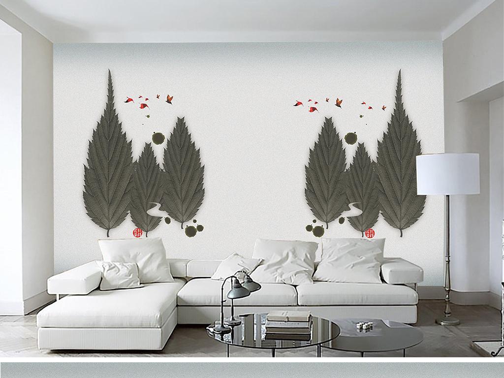 现代简约树叶手绘线条背景墙