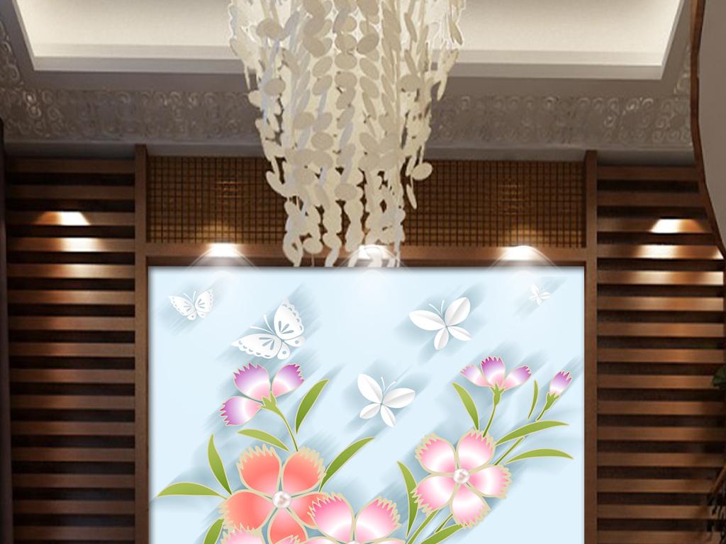 手绘小清新花朵花瓶玄关(图片编号:15904750)_3d玄关